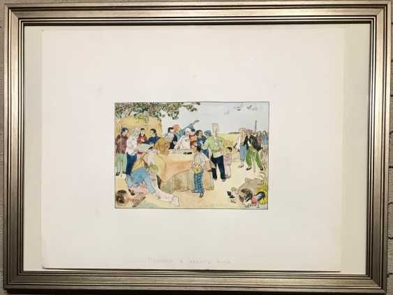 """Chinese watercolor """"Signatures for peace"""", ser. Of the twentieth century. - photo 2"""