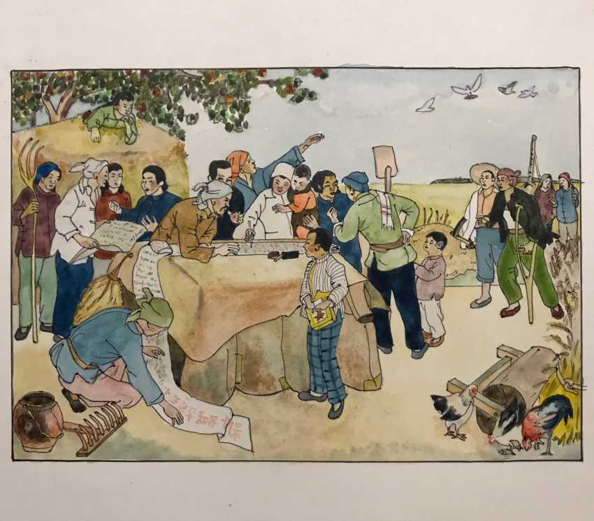 """Chinese watercolor """"Signatures for peace"""", ser. Of the twentieth century. - photo 4"""