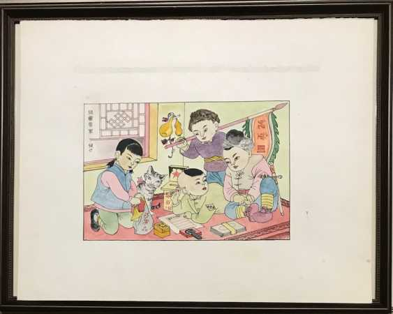 "Chinese watercolor ""Children send gifts to soldiers of the people's Army"", ser. Of the twentieth century. - photo 2"