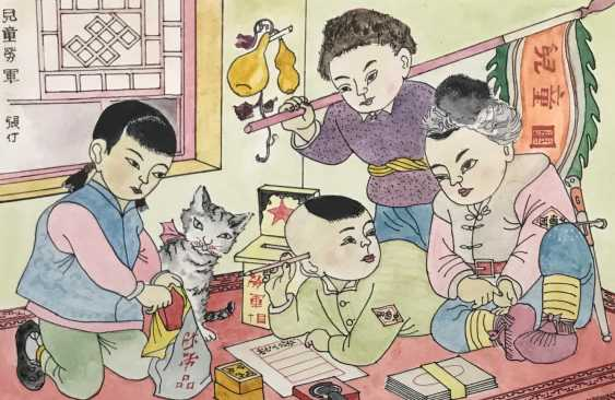 "Chinese watercolor ""Children send gifts to soldiers of the people's Army"", ser. Of the twentieth century. - photo 3"