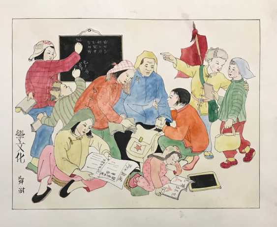 "Chinese watercolor ""Children learn to read and write"", ser. Of the twentieth century. - photo 4"