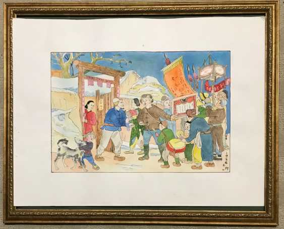"Chinese watercolor ""Presentation lantern peasant family..."", ser. Of the twentieth century. - photo 5"