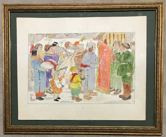"Chinese watercolor ""New Year population brings gifts..."", ser. Of the twentieth century. - photo 5"