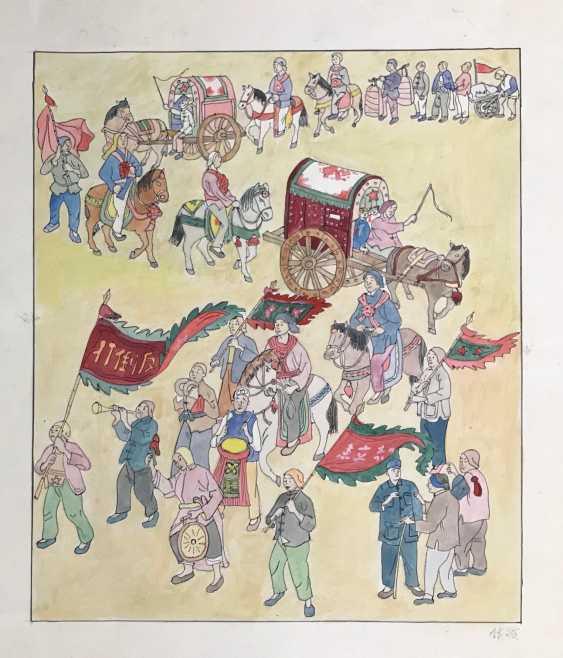 Китайская акварель «Народ провожает добровольцев...», 1951 г. - фото 3