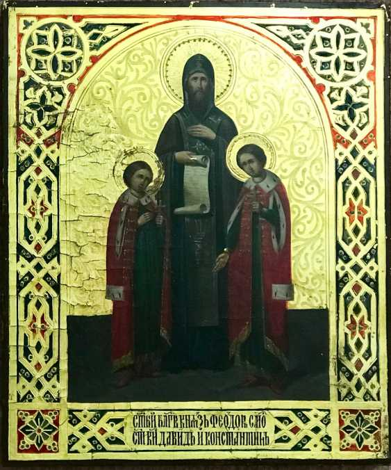 """The Holy Prince Theodore of Smolensk and his sons David and Constantine"", XIX century - photo 1"