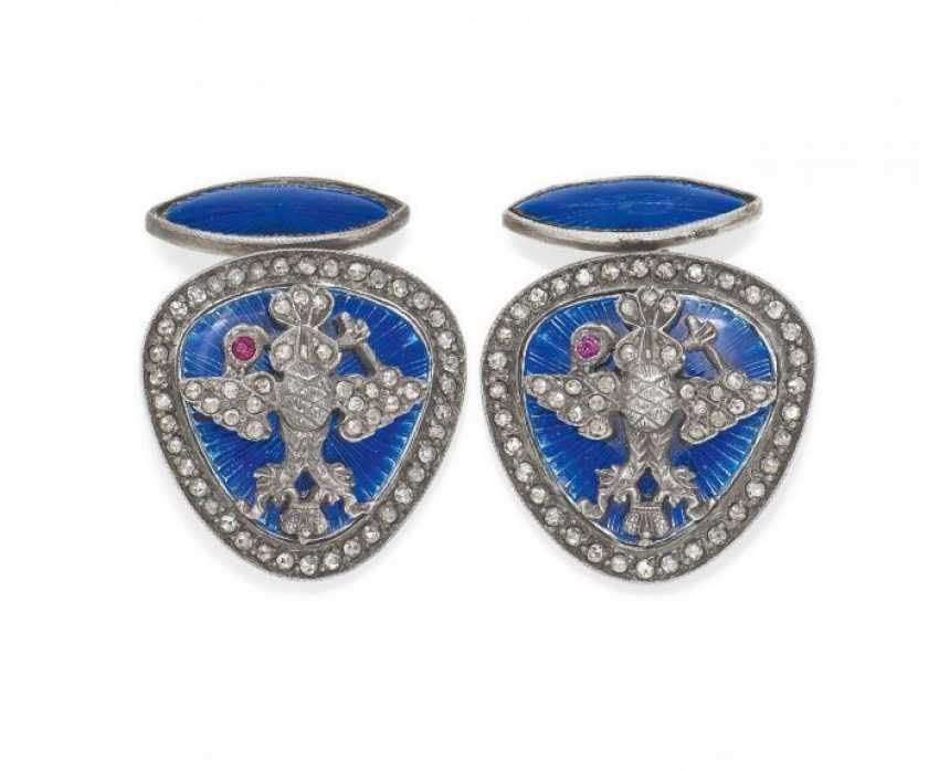 ENAMEL-CUFFLINKS. Russia, around 1900. - photo 1