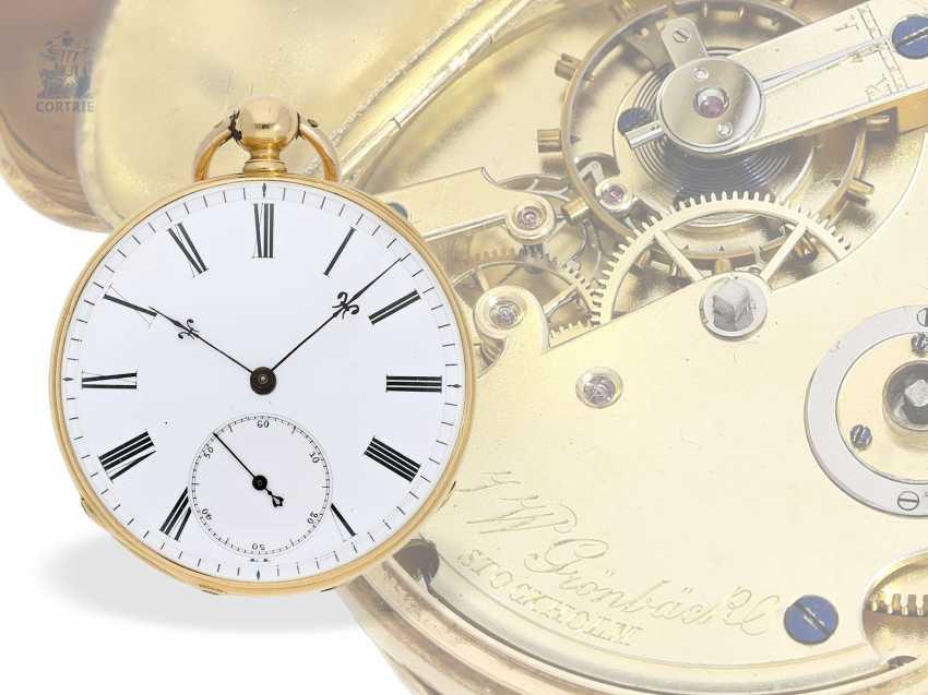 Pocket watch: interesting and unusual Swedish Chronometer, J. W. Grönbäck, Stockholm No. 8605, experimental work, approx. 1850/60 - photo 1