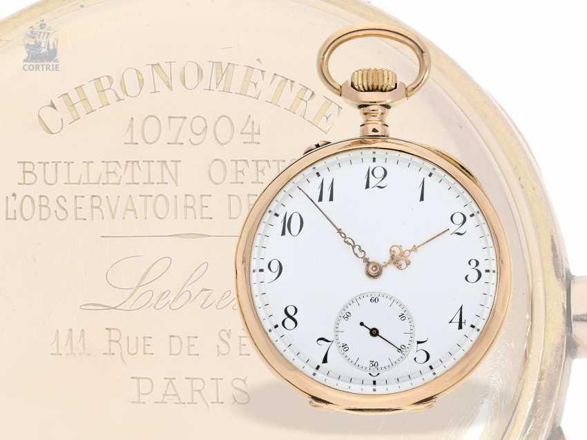 """Pocket watch: exquisite French Observation chronometer, """"CHRONOMETRE 107904 BULLETIN OFFICIEL DE L'OBSERVATOIRE DE BESANCON"""", Lebret Paris CA. 1890 - photo 1"""