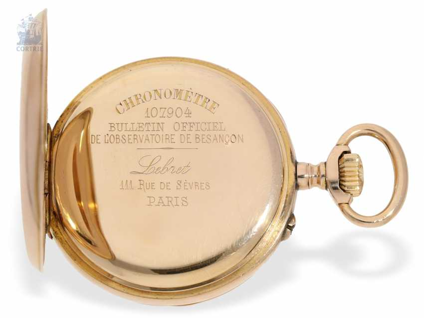 "Pocket watch: exquisite French Observation chronometer, ""CHRONOMETRE 107904 BULLETIN OFFICIEL DE L'OBSERVATOIRE DE BESANCON"", Lebret Paris CA. 1890 - photo 6"
