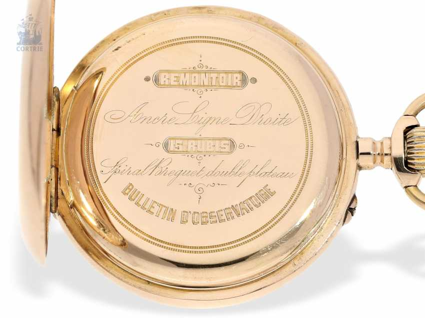 Pocket watch: Golden-red Observatory Chronometer, very rare calibre, signed VJR & F, probably around 1885 - photo 4