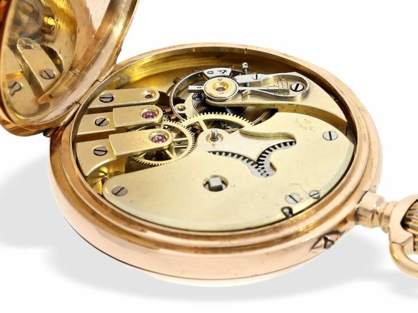 Pocket watch: Golden-red Observatory Chronometer, very rare calibre, signed VJR & F, probably around 1885 - photo 8
