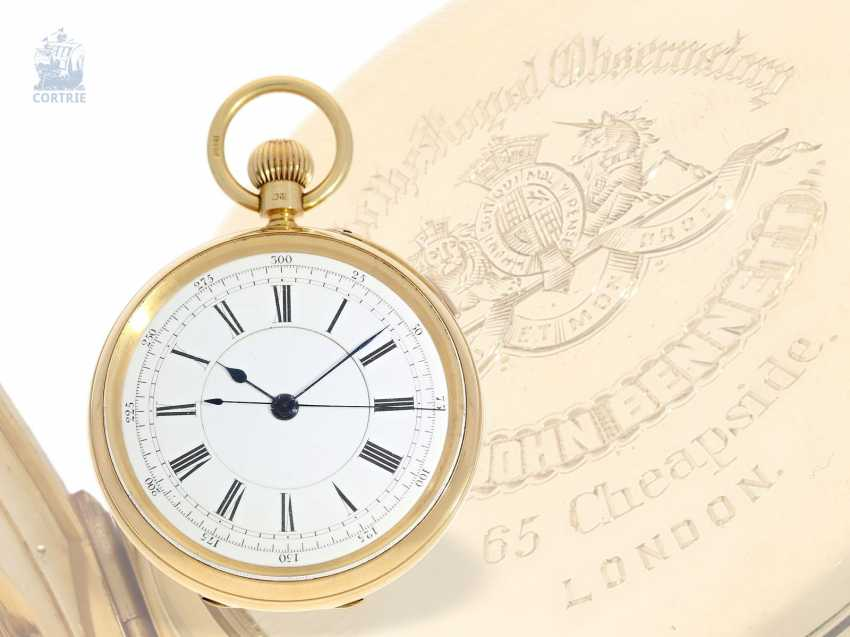 Pocket watch: heavy English Watch, with anhaltbarer Central second, chronometer maker to the Royal Observatory London, Sir John Bennett, No. 11348, London 1894 - photo 6