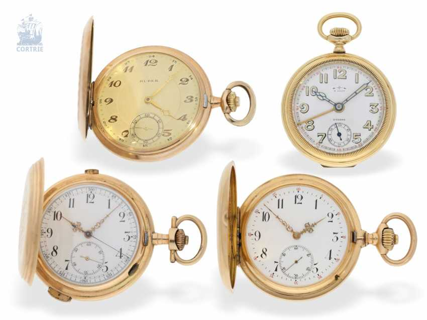 Pocket watch: interesting mixed lot of 4 gold pocket watches, including a heavy IWC gold savonnette of 1895 - photo 11