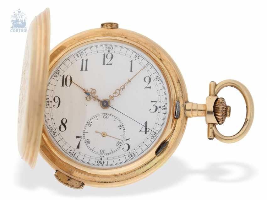 Pocket watch: interesting mixed lot of 4 gold pocket watches, including a heavy IWC gold savonnette of 1895 - photo 4