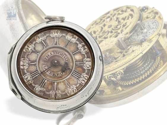 Pocket watch: early English double case-Spindeluhr with base dial, Tillinghast Liverpool, Hallmarks Chester 1742 - photo 1