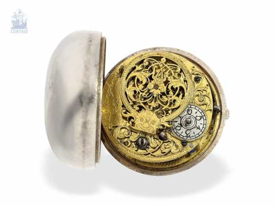 Pocket watch: early English double case-Spindeluhr with base dial, Tillinghast Liverpool, Hallmarks Chester 1742 - photo 3