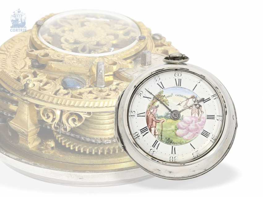 Pocket watch: interesting early English double case-Spindeluhr with rare enamel paintings, James Watts, London, 1703-CA. 1740 - photo 1