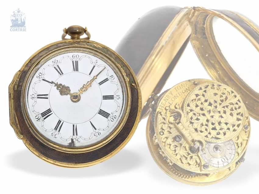 Pocket watch: early English Spindeluhr, around 1700, one of the most important London watchmaker of this time, Henry Jones 1654-1695/1698 - photo 1