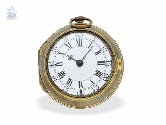 Pocket watch: early English double case-Spindeluhr, in 1740, Richard Wilson, London, no. 2291 - photo 1