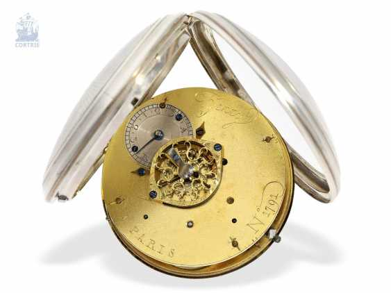 Pocket watch: large, technically interesting French Watch, with anhaltbarer Central second, date, as well as an unusual variant of the comma inhibition, Henry a Paris, No. 1791. 1790 - photo 2
