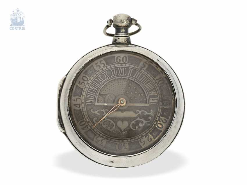 Pocket watch: rare einzeigrige double case-Spindeluhr with retrograde hour and day/night indicator, Thomas Maston London, 1825 - photo 1
