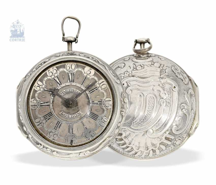 Pocket watch: early English repoussé technology, double-housing Spindeluhr with exceptional housing decoration, Martineau London No. 942, CA. 1720 - photo 1