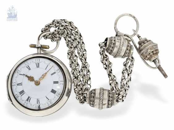 Pocket watch: very beautiful and rare, early Dutch double-housing Spindeluhr with extraordinary Chatelaine with key, Paul Bra(e)mer & Zoon Amsterdam No. 236, CA. 1730-1750 - photo 1