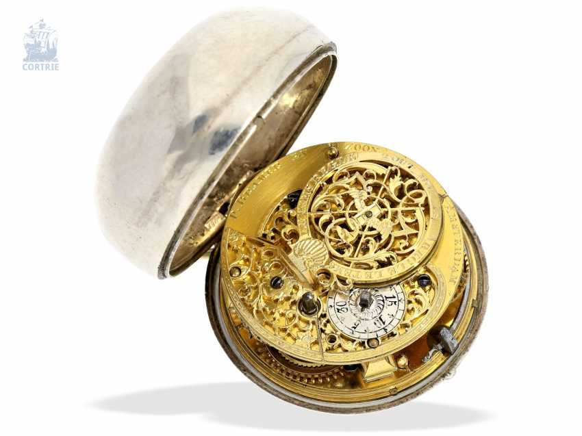 Pocket watch: very beautiful and rare, early Dutch double-housing Spindeluhr with extraordinary Chatelaine with key, Paul Bra(e)mer & Zoon Amsterdam No. 236, CA. 1730-1750 - photo 4
