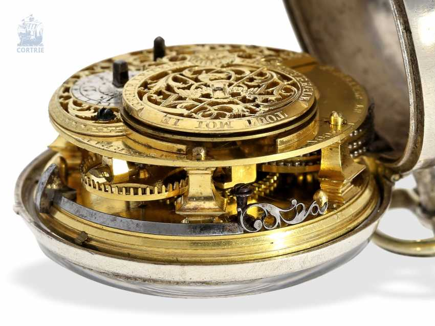 Pocket watch: very beautiful and rare, early Dutch double-housing Spindeluhr with extraordinary Chatelaine with key, Paul Bra(e)mer & Zoon Amsterdam No. 236, CA. 1730-1750 - photo 6