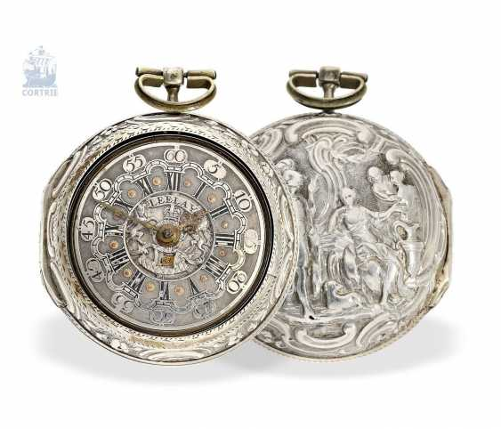 Pocket watch: a magnificent Repousssé double housing base Spindeluhr with the date and representation of the English Royal coat-of-arms, signed Leelay, Hallmarks 1778 - photo 6