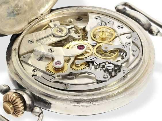 Watch: very rare, very early, exceptionally large crown pusher Chronograph, Register and enamel dial, signed Henry Blanc Geneve, probably around 1925 - photo 5
