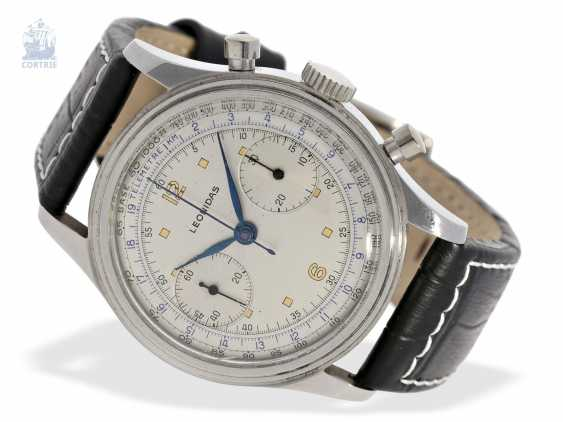 Watch: oversized stainless steel Chronograph watch, probably Leonidas 50s, caliber Valjoux 22 - photo 1