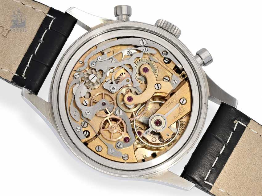 Watch: oversized stainless steel Chronograph watch, probably Leonidas 50s, caliber Valjoux 22 - photo 2