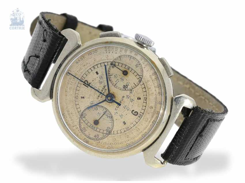 Watch: large, ultra-rare Universal Geneve Compur steel Chronograph watch with special lugs and Tachymeter/telemeter snail, 30s - photo 1