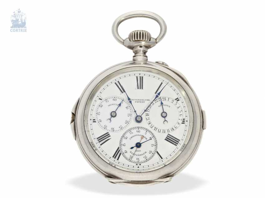 """Pocket watch: extremely rare-Regulator-Chronograph-with-time-counter """"universal watch Patent"""" according to the invention of Fritz Bovet and Albin Ernest Bessire, Patent Hermann Bovet Brevet No. 12 of 1888 - photo 1"""