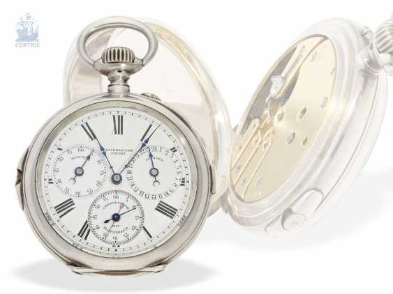 """Pocket watch: extremely rare-Regulator-Chronograph-with-time-counter """"universal watch Patent"""" according to the invention of Fritz Bovet and Albin Ernest Bessire, Patent Hermann Bovet Brevet No. 12 of 1888 - photo 6"""