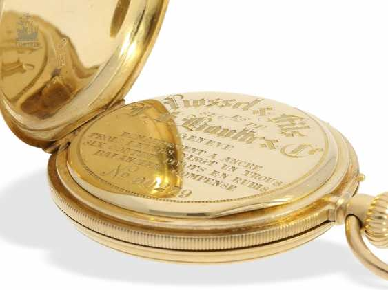 Pocket watch: early, small gold savonnette with Repetition, calibre Le Coultre, Rossel & Fils, Geneve, No. 90279, high fine quality, CA. 1860 - photo 2