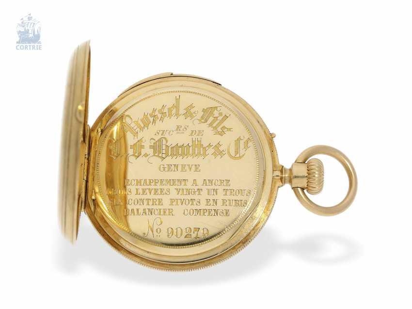 Pocket watch: early, small gold savonnette with Repetition, calibre Le Coultre, Rossel & Fils, Geneve, No. 90279, high fine quality, CA. 1860 - photo 7