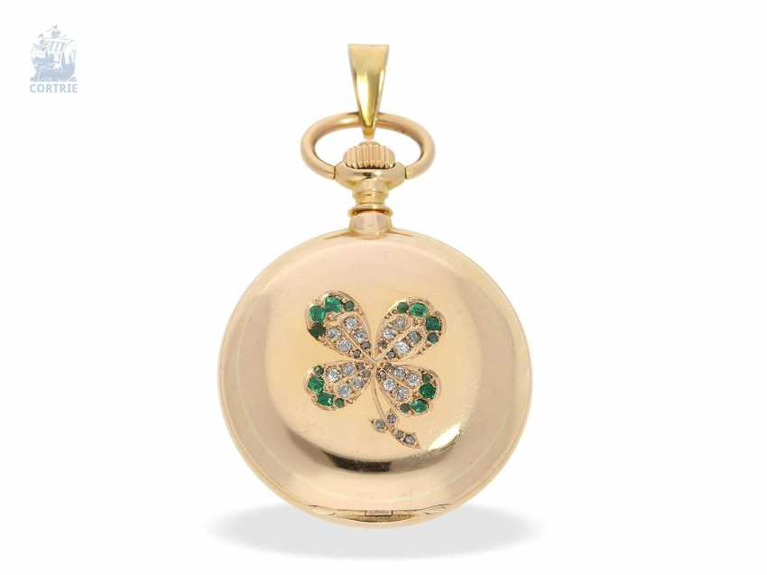 Pocket watch/Anhängeuhr: very rare A. Lange & Söhne Glashütte ladies watch with original diamond/emerald trim, 47567, Glashütte CA. 1903, with the master excerpt from the book - photo 1