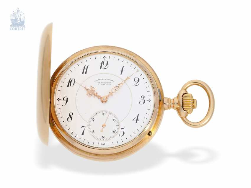 Pocket watch: large, fine gold savonnette, A. Lange & Söhne, No. 34889, a glass factory in 1896, with the master excerpt from the book - photo 1
