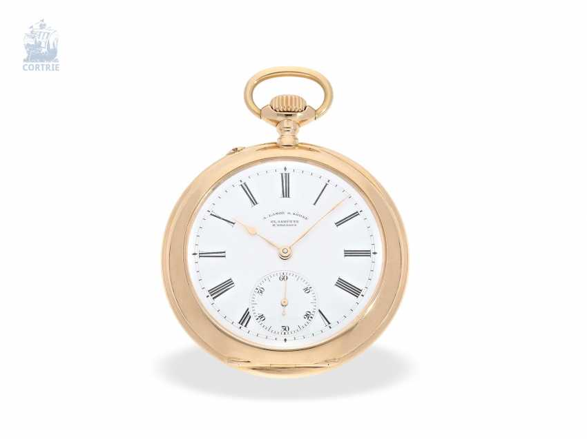 Pocket watch: unique Lange & Sohne rose gold/enamel pocket watch, quality 1A, from the former aristocratic houses, with the master excerpt from the book, Glashütte 1899 - photo 6