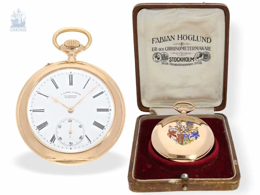 Pocket watch: unique Lange & Sohne rose gold/enamel pocket watch, quality 1A, from the former aristocratic houses, with the master excerpt from the book, Glashütte 1899 - photo 7