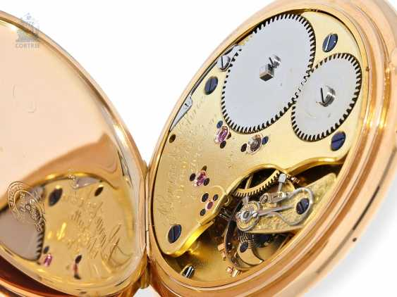 Pocket watch: unique Lange & Sohne rose gold/enamel pocket watch, quality 1A, from the former aristocratic houses, with the master excerpt from the book, Glashütte 1899 - photo 8