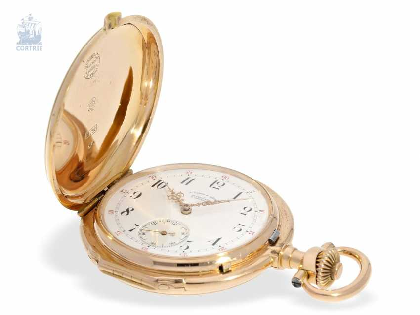 "Pocket watch: important, large, A. Lange & Söhne Anchor chronometer/Prüfchronometer of the Observatory of Leipzig in its rarest Form ""18K rose gold LOUIS XV"", with original box and certificate, No. 27259 1889 - photo 3"