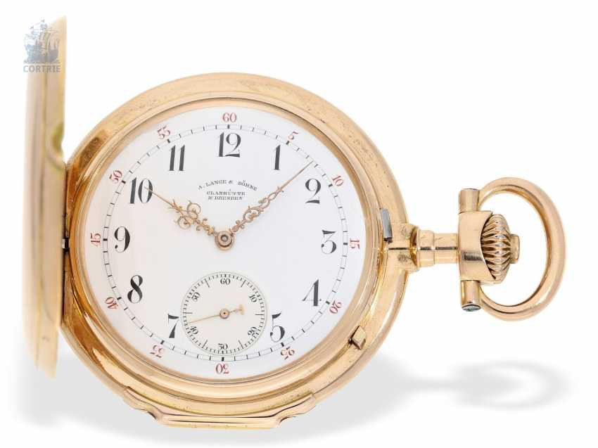 "Pocket watch: important, large, A. Lange & Söhne Anchor chronometer/Prüfchronometer of the Observatory of Leipzig in its rarest Form ""18K rose gold LOUIS XV"", with original box and certificate, No. 27259 1889 - photo 7"