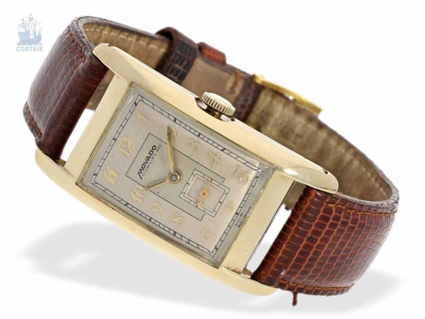 """Watch: very rare, large """"curved"""" men's watch, Movado """"CURVIPLAN"""" in the original gold case, approx 1945 - photo 1"""