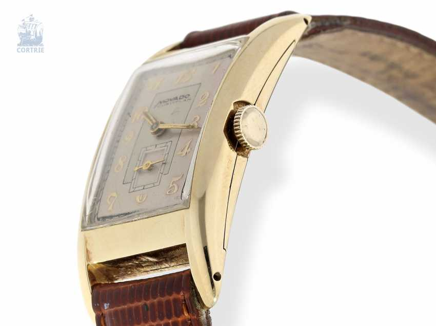 """Watch: very rare, large """"curved"""" men's watch, Movado """"CURVIPLAN"""" in the original gold case, approx 1945 - photo 3"""