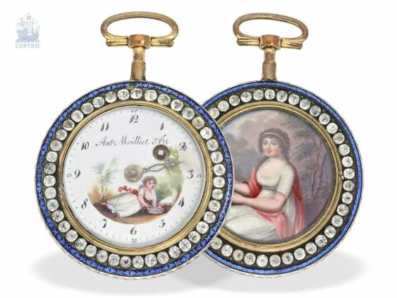 Pocket watch: large, exceptional enamel Spindeluhr with stone trim, Antoine Moillet & Cie, Geneve, No. 18482, CA. 1790 - photo 2