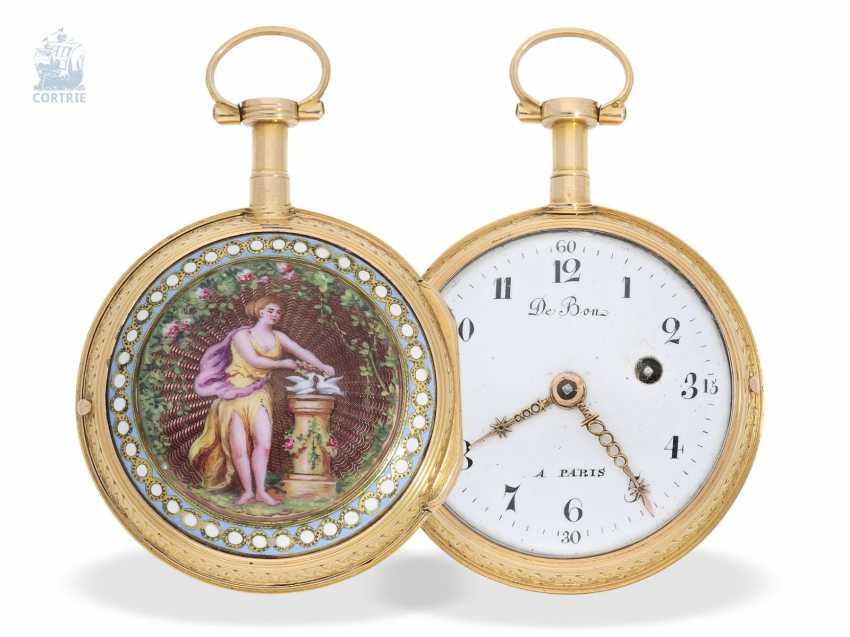 Pocket watch: exquisite French Gold/enamel Spindeluhr in excellent state of preservation, De Bon, Paris, around 1780 - photo 1
