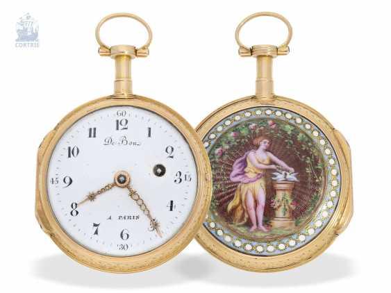 Pocket watch: exquisite French Gold/enamel Spindeluhr in excellent state of preservation, De Bon, Paris, around 1780 - photo 2